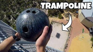 BOWLING BALL Vs. TRAMPOLINE from 45m!