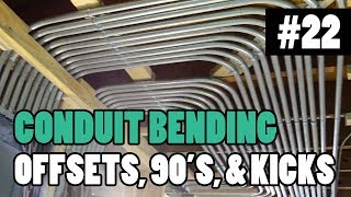Episode 22 - How To Bend Conduit - 1/2″ 3/4″ and 1″ EMT - BENDING 90s, OFFSETS, BOX OFFSETS, & KICKS