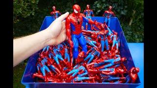 SHREDDING 100 SPIDERMAN TOY FIGURES!