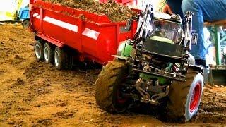 ?OVERLOAD? RC Tractor Fendt 936! Krampe BigBody Halfpipe 3-AXLE! Hydraulic trailer!