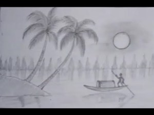 nature draw drawing drawings pencil sketches scene simple realistic scenery nice scenes boat cartoon charcoal island paintingvalley kaynak explore