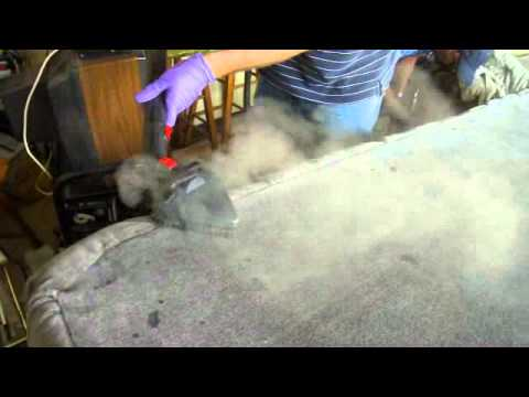 Apply hot steam to sofa to kill bed bugs - YouTube