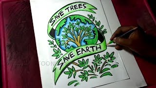 How To Draw Save Trees Save Earth Poster Drawing For Kids Free