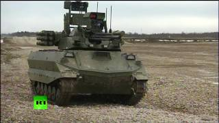 Russian robot tank in action: Uran-9 performs fire drill