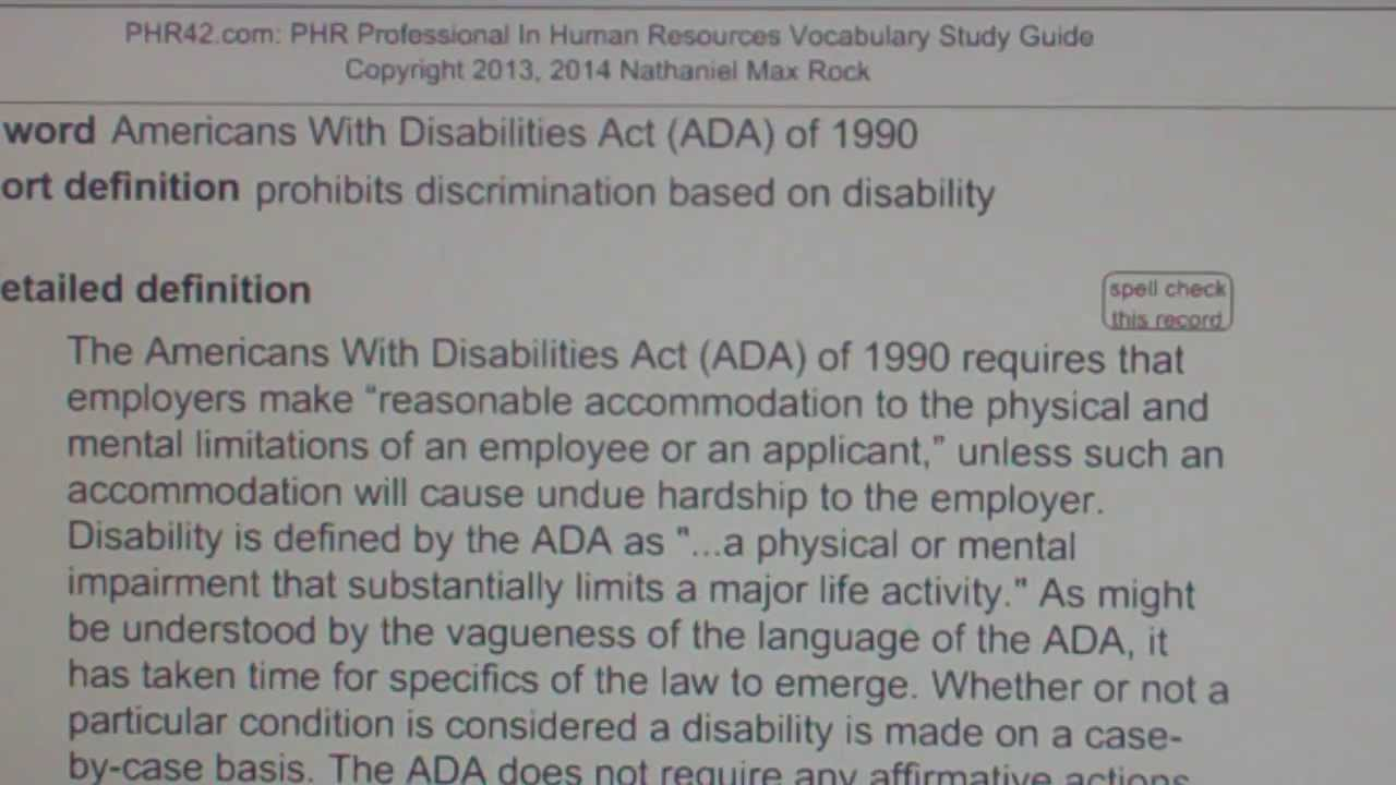 Americans With Disabilities Act (ADA) of 1990 PHR42.com