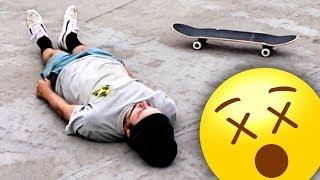 ADULT IDIOT FALLS OFF SKATEBOARD MANY TIMES