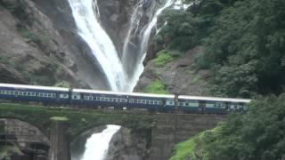 Amaravathi Express Passing Dudhsagar Water Falls