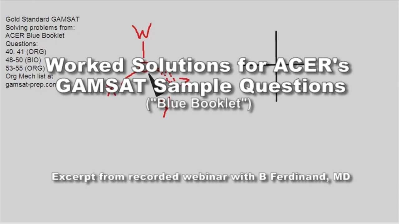 GAMSAT Organic Chemistry Sample Questions Unit 14 Q 40-41