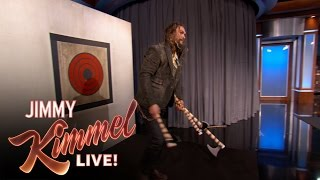 Jason Momoa Throws Axes with Jimmy Kimmel & Guillermo