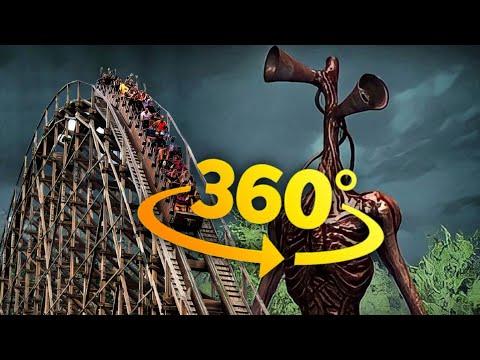 SIREN Head 360 Roller Coaster VR Park Night Ride 4K