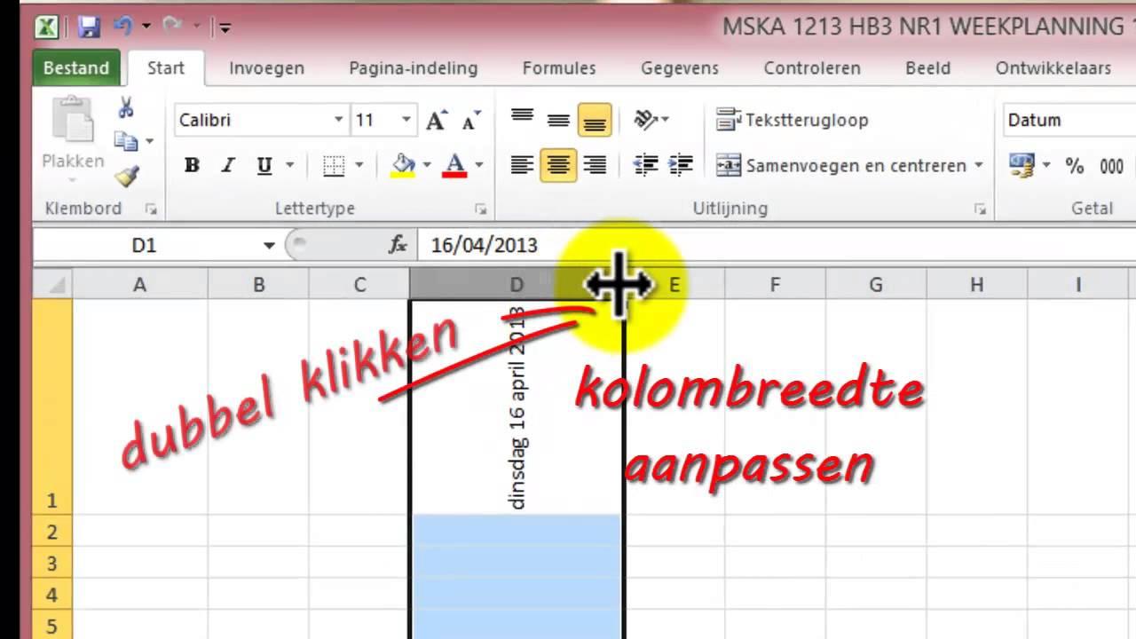 Weekplanning Maken Met Excel YouTube