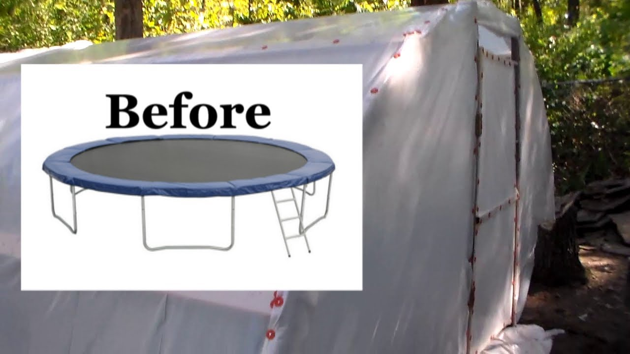 """Turn A Trampoline Into A Polytunnel Greenhouse """"Start to"""