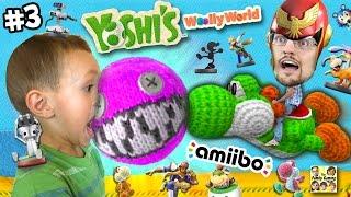 Dad & Chase play YOSHI'S WOOLY WORLD #3: No Pokemon Animals can Cross! (More FGTEEV Amiibo Action!)