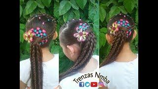 Peinado Para Ninas Con Ligas Trenzas Encintado Ajedrez Facil Y