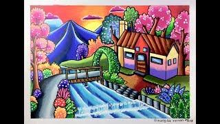 Cara Menggambar Dan Mewarnai Pemandangan Rumah Tepi Sungai Free