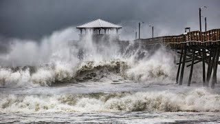 Waves slam Oceanana Pier in Atlantic Beach as Hurricane Florence approaches