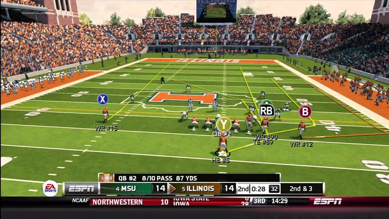 NCAA Football 14 Gameplay Illinois vs Michigan State