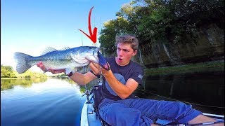 Bass Crushes GIANT Topwater Lure - Clear Water Kayak Fishing