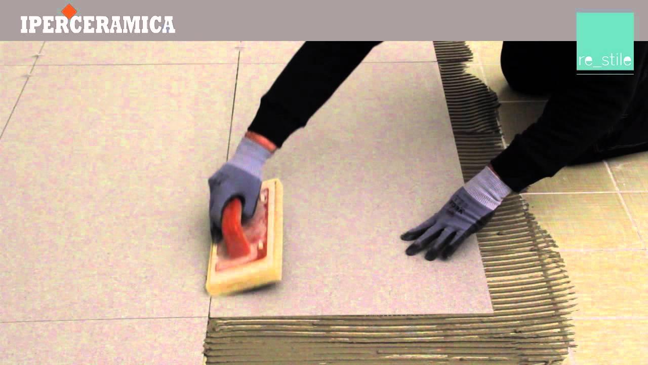 Posa pavimento gres sottile  IPERCERAMICA  YouTube