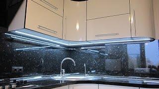 Светодиодная LED подсветка рабочей зоны кухни с использованием светового профиля .Полный процесс.