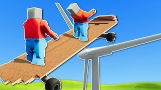 SKATEBOARD JUMP OVER WIND TURBINE! - Brick Rigs Multiplayer Gameplay - Lego Stunts & Jumps