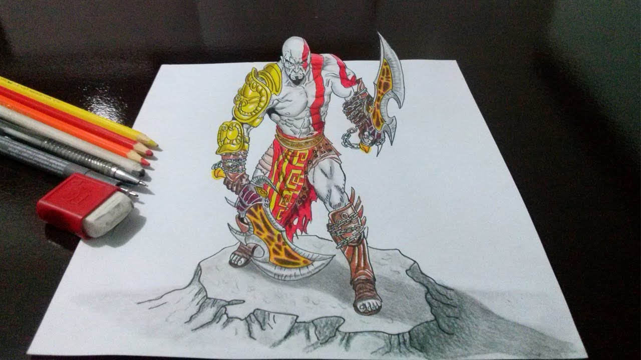 Desenhando o Kratos  God of War  em 3D  Drawing Kratos