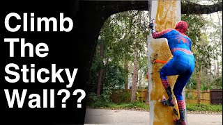 Can Spiderman Climb The Sticky Wall?