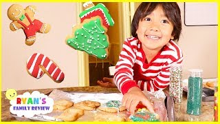 Ryan bakes kids size Christmas Cookies with Daddy and Mommy!