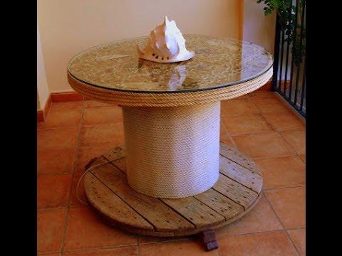 AQL COMO HACER mesa con bobina de cable  YouTube