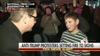 Download Fire starting boy at Trump protest says ″screw our president″ Video