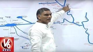 Irrigation Minister Harish Rao Power Point Presentation Over Kaleshwaram Project | V6 News