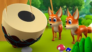 The Fox and Drum 3D Animated Hindi Moral Stories for Kids लोमड़ी और ढोल की कहानी Fox Tales