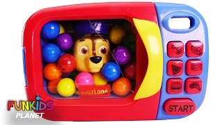 Learn Colors for Children: Paw Patrol Chase & Skye in Microwave Kitchen Appliance