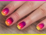 neon rainbowithombre nails summer
