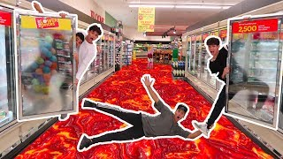 Download FLOOR IS LAVA IN GROCERY STORE! (we got banned) Video
