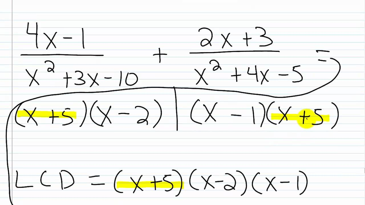 Algebra I Help: Adding/Subtracting Rational Expressions