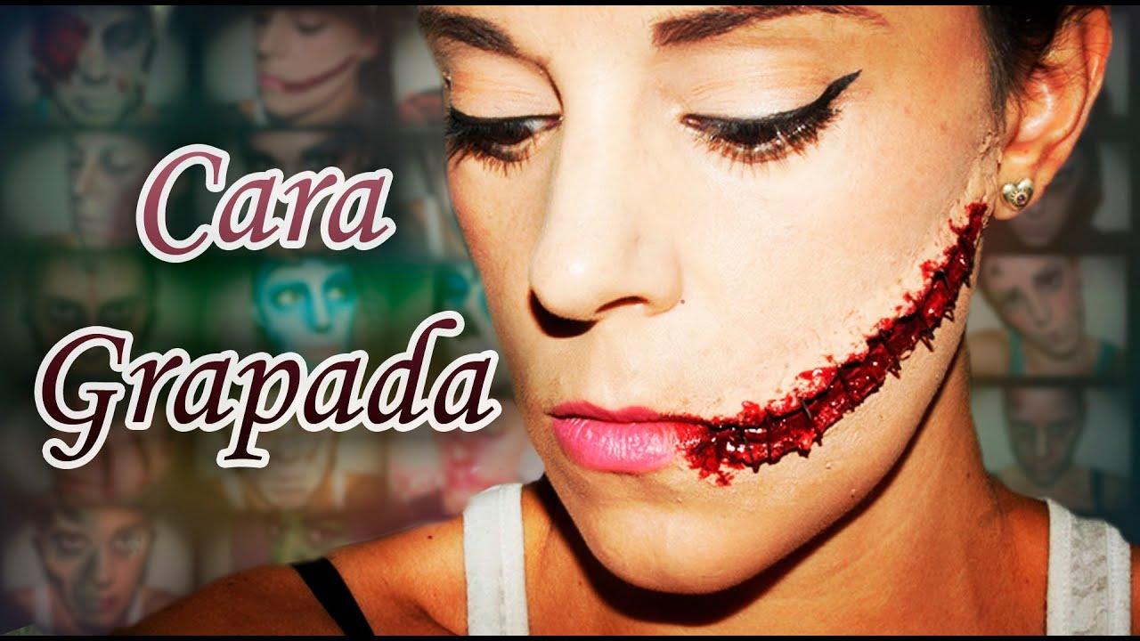Maquillaje Halloween Cara grapada efectos especiales FX