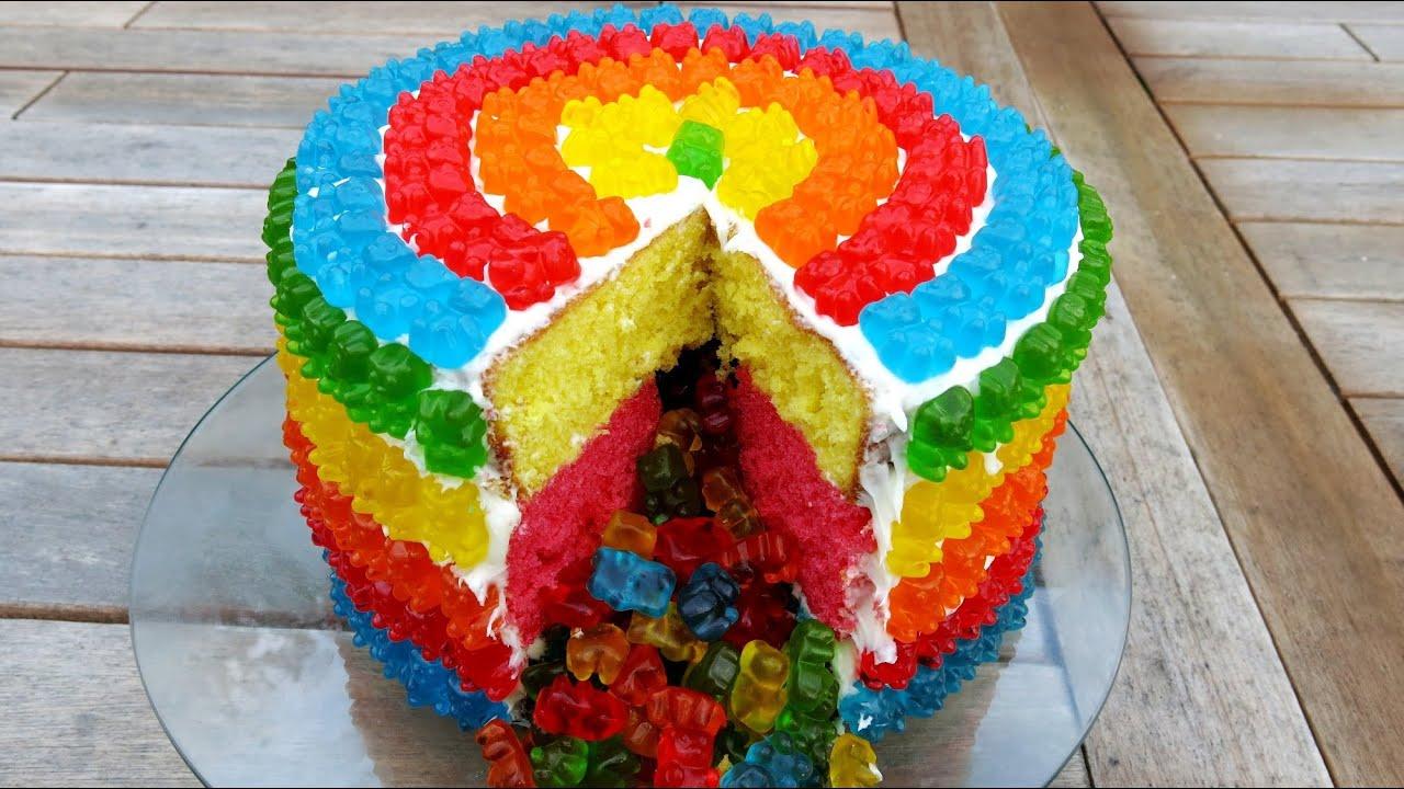 RAINBOW GUMMY BEAR PIATA CAKE  YouTube
