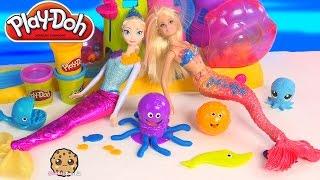 Playdoh Ocean Animal Tools Set Unboxing with Disney Frozen Queen Elsa and Barbie Mermaid Dolls