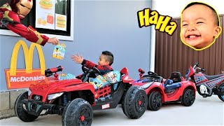 Download Bad Baby McDonald's Drive Thru Prank With 3 Spider-Man Electric Ride On Ckn Toys Video