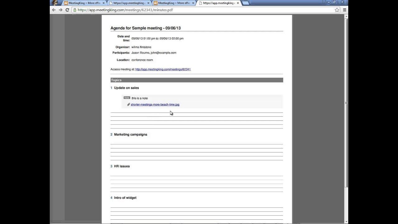 meeting agenda notes template