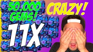 CRAZY 50.000X GEMS! | Clash Royale | 11X SUPER MAGICAL CHEST OPENING
