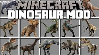 Minecraft DINOSAUR MOD / FIGHT AND DEFEND AGAINST THE REALISTIC FLESH EATING DINOSAURS!! Minecraft