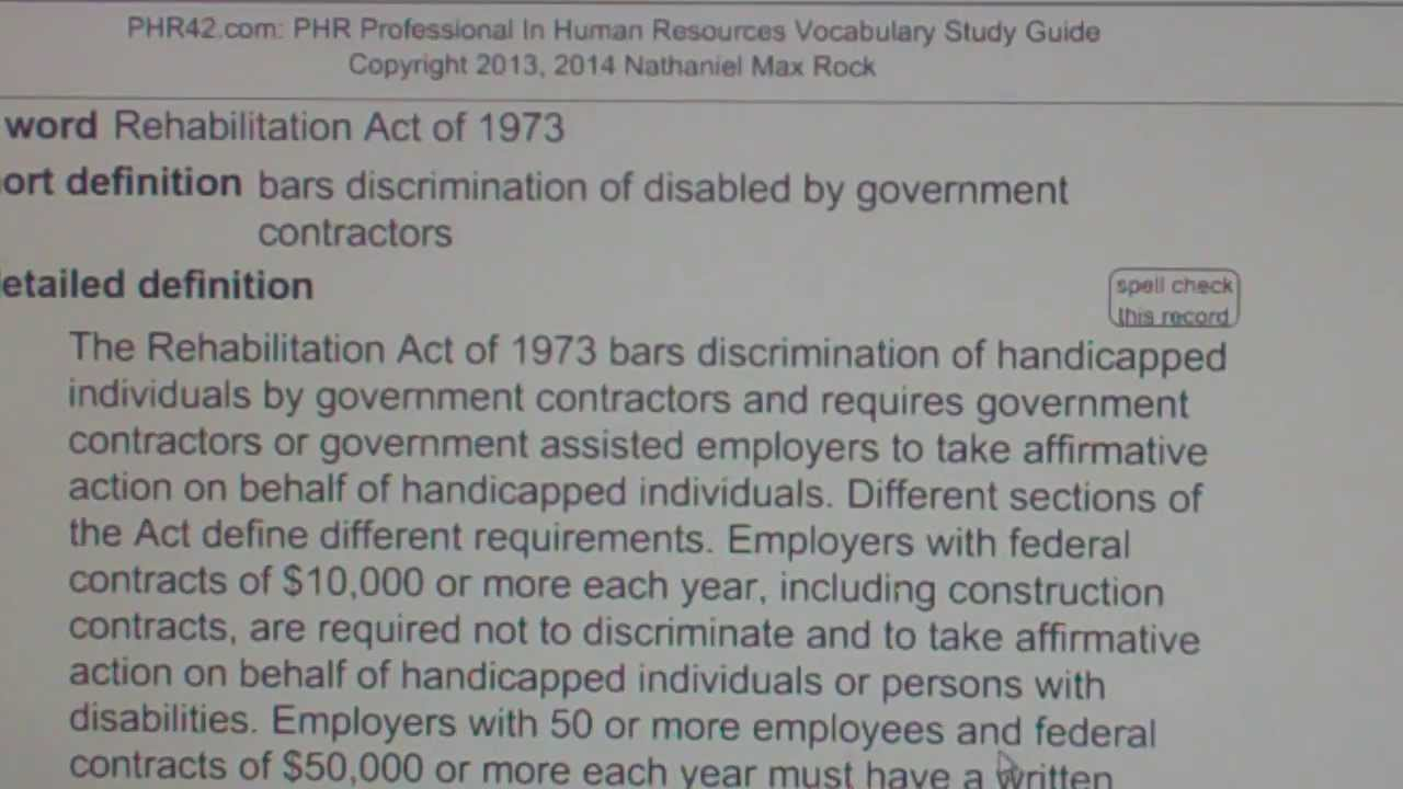 Rehabilitation Act of 1973 PHR SPHR Professional In Human