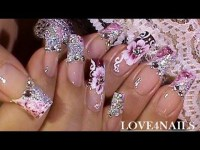 No Water Marble Nails French Tip - Crystal Rose Flower ...