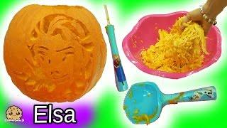 Carving Disney Frozen Queen Elsa Into Big Halloween Pumpkin with Surprise Blind Bags Inside