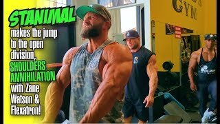STANIMAL JUMP INTO THE OPEN-SHOULDER BLITZ WITH ZANE WATSON & FLEXATRON AT THE MECCA.