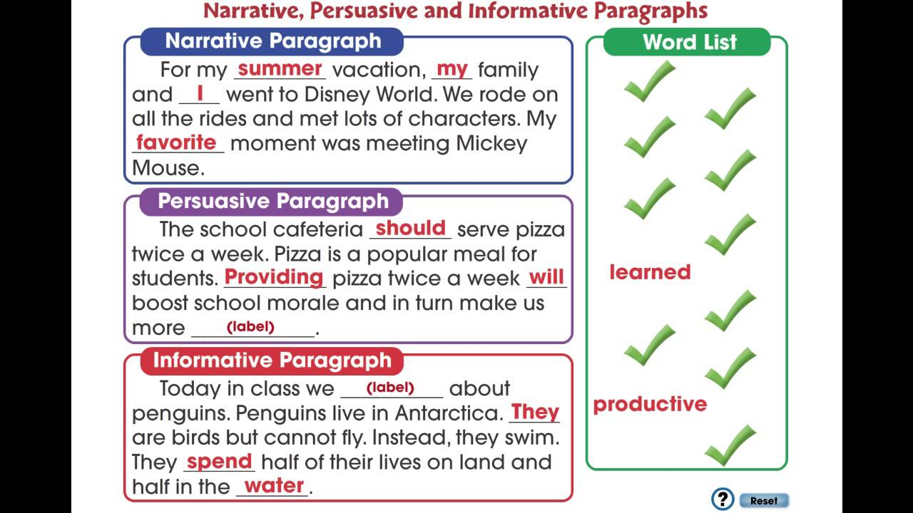 CC7104 How to Write a Paragraph Narrative Persuasive and