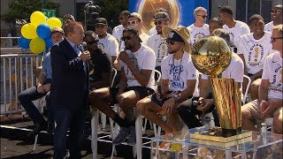Steph Curry, Kevin Durant and Draymond Green speak before Warriors' championship parade