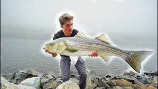 Most INSANE GIANT Striped Bass TOPWATER Fishing - (Striper Mayhem D.1)